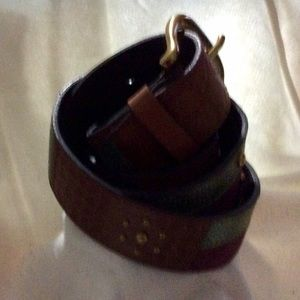 Fossil Accessories - Fossil Leather Brown & Green Embossed Beaded Belt